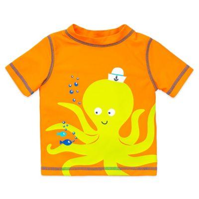 Little Me® Size 6-9M Short Sleeve Octopus Rashguard in Orange/Yellow