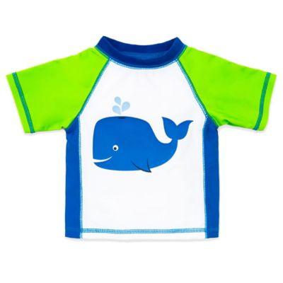 Little Me® Size 12M Short Sleeve Whale Rashguard in Lime Green/Blue