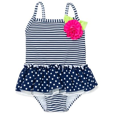 Little Me® Size 18M 1-Piece Dots & Stripes Swimsuit in Navy/White