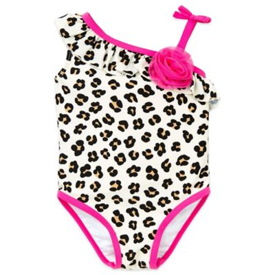Little Me® Size 12M 1-Piece Cheetah Print Swimsuit in White/Pink
