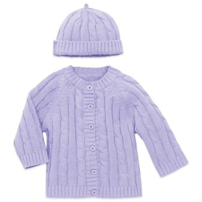 Elegant Baby® Size 6M 2-Piece Cable Cardigan and Hat Set in Lavender