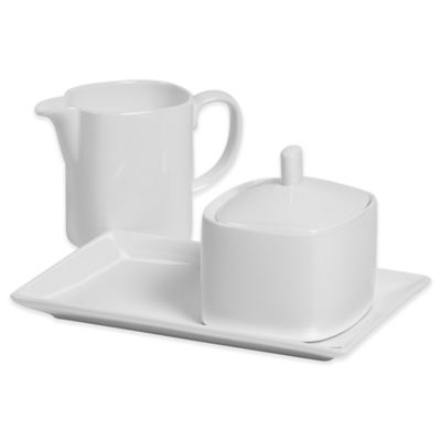 Tabletops Unlimited® Bone China Sugar and Creamer Set in White