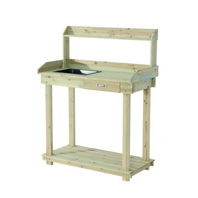 Sunjoy Wide Chambers Wooden Potting Bench