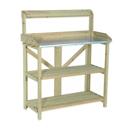 Sunjoy Syntax Wooden Potting Bench with Steel Bench Top