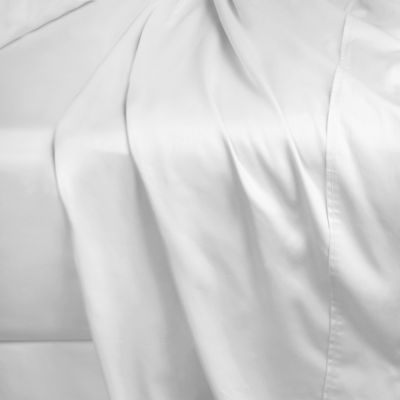 400-Thread-Count 86-Inch x 98-Inch Cotton Sateen Queen Flat Sheet in White