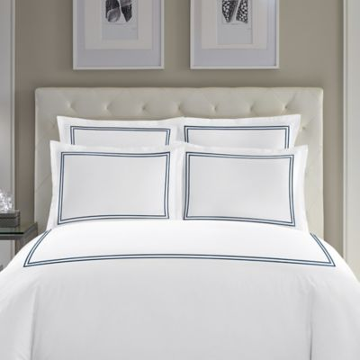 Wamsutta® Baratta Stitch Cotton Standard Pillow Sham in Navy