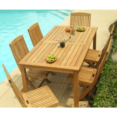 Three Birds Casual Brunswick Dining Set in Teak with Braxton Side Chairs