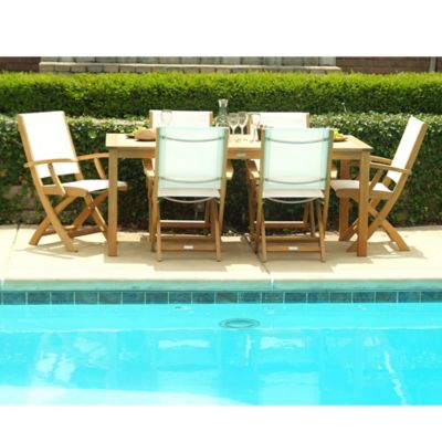 Three Birds Casual Brunswick Outdoor 7-Piece Dining Set in Teak