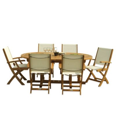 Three Birds Casual 7-Piece Teak Camden Extension Table with Riviera Folding Armchairs
