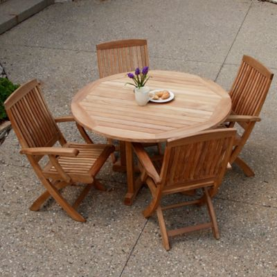 Three Birds Casual Outdoor 5-Piece Dining Set in Teak