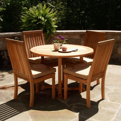 Three Birds Outdoor5-Piece Dining Set in Teak with Monterey Side Chairs
