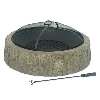 Sunjoy 34-Inch Fire Pit with Tree Bark Finish