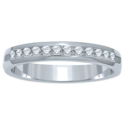 14K White Gold .25 cttw Channel-Set Diamond Size 7.5 Ladies' Wedding Band