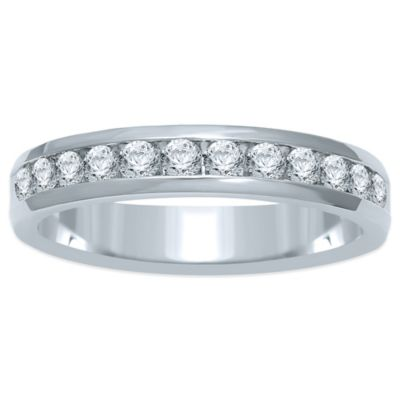 14K White Gold .50 cttw Channel-Set Diamond Size 7.5 Ladies' Wedding Band