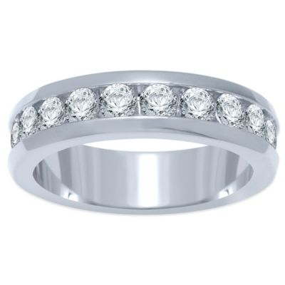 14K White Gold 1.0 cttw Channel-Set Diamond Size 6.5 Ladies' Wedding Band