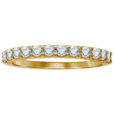 14K Yellow Gold .25 cttw Prong-Set Diamond Size 7.5 Ladies' Wedding Band