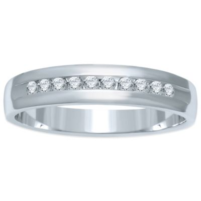 Sterling Silver .20 cttw Channel-Set Diamond Size 6.5 Ladies' Wedding Band