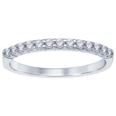 Sterling Silver .20 cttw Prong-Set Diamond Size 9 Ladies' Wedding Band