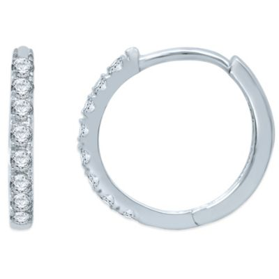 10K White Gold .10 cttw Prong-Set Diamond Hoop Earrings