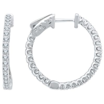 14 k White Gold Hoop Earrings