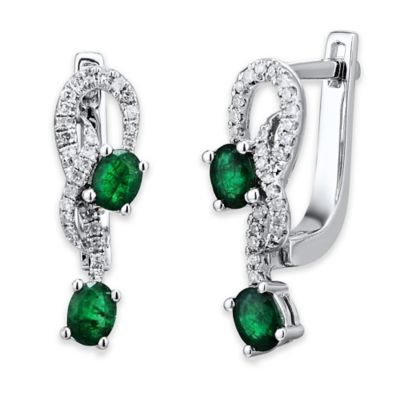 14K White Gold .16 cttw Diamond and Emerald Entwined Branch Dangle Hoop Earrings