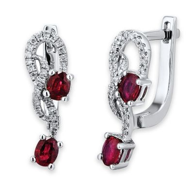 14K White Gold .16 cttw Diamond and Oval Ruby Intertwined Leverback Hoop Earrings