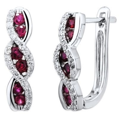 14K White Gold .16 cttw Diamond and Ruby Swirl Hoop Earrings