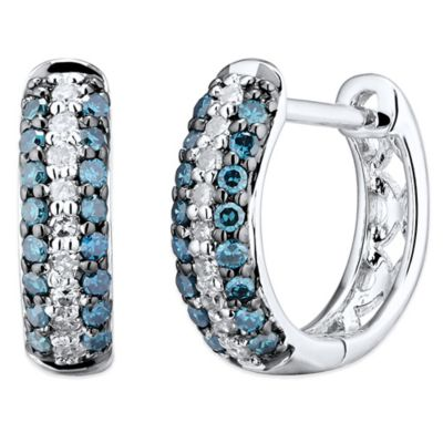 10K White Gold .25 cttw Blue and White Diamond Pave Huggie Hoop Earring