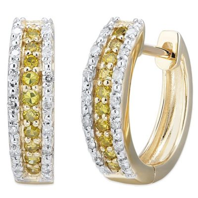 10K White Gold .25 cttw White and Yellow Diamond Elongated Hoop Earrings