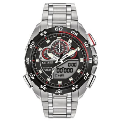Citizen Eco-Drive Men's 44mm Promaster Super Sport Red-Accented Chronograph Watch in Stainless Steel