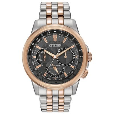 Citizen Eco-Drive Men's 44mm Calendrier Black Dial Watch in Two-Tone Stainless Steel