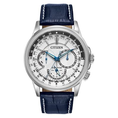 Citizen Eco-Drive Calendrier Men's 44mm Watch in Stainless Steel with Dark Blue Leather Strap