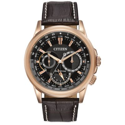 Citizen Eco-Drive 44mm Calendrier Watch in Rose Goldtone Stainless Steel with Brown Leather Strap