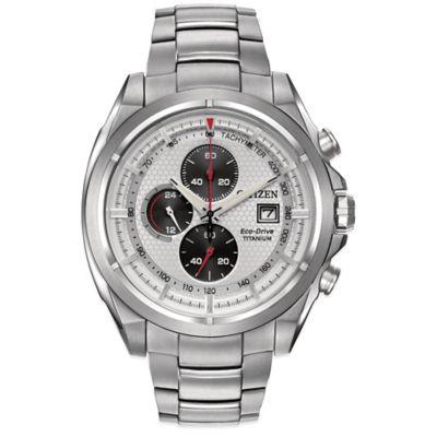 Citizen Eco-Drive Men's 44mm Metallic Silver Dial Chronograph Watch in Titanium