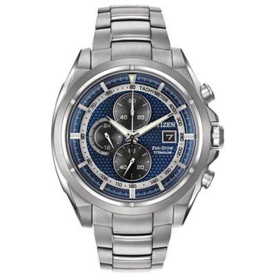 Citizen Eco-Drive Men's 44mm Blue Dial Chronograph Watch in Titanium