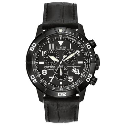 Citizen Eco-Drive Men's 43mm Perpetual Calendar Chronograph Watch in Black Titanium w/Leather Strap