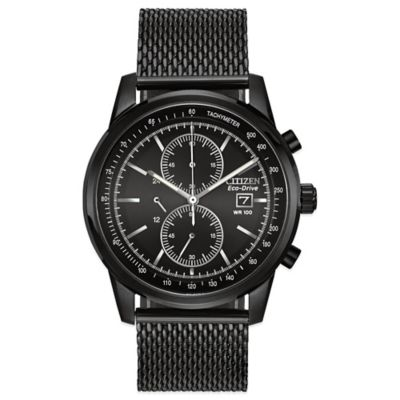 Citizen Eco-Drive Men's 42mm Mesh Chronograph Watch in Black Ion-Plated Stainless Steel