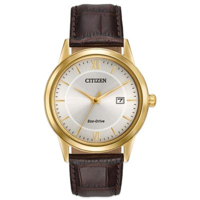 Citizen Eco-Drive Men's 40mm Goldtone Stainless Steel Dress Watch with Brown Leather Strap