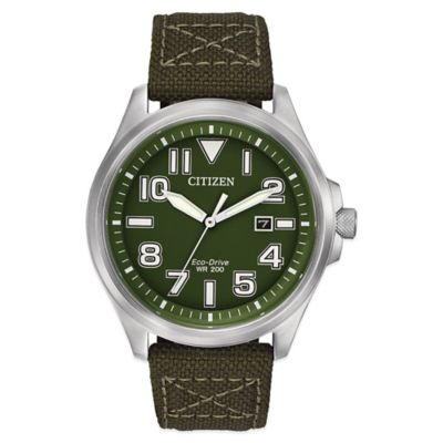 Citizen Eco-Drive Military Men's 44mm Green Dial Watch in Stainless Steel with Green Nylon Strap