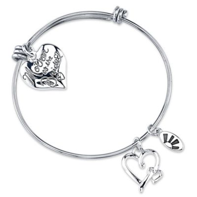 "Shine Silvertone ""Mother of the Bride"" Charm Bangle"