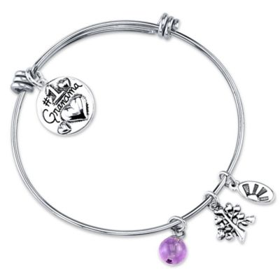 "Shine Silvertone ""#1 Grandma"" Charm Bangle"
