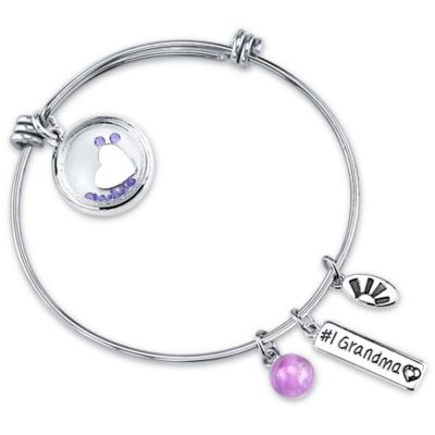 "Shine Silvertone ""Grandma"" Heart Charm Bangle"