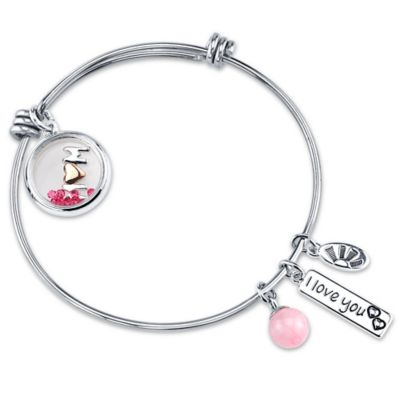 "Shine Silvertone ""Mom, I Love You"" Shaker Charm Bangle"