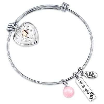 "Silvertone ""I Love You Mom"" Charm Bangle"