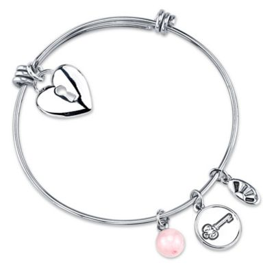 "Shine Silvertone ""Who Holds the Key Can Unlock My Heart"" Charm Bangle"