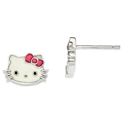 Sterling Silver Hello Kitty Enamel Stud Earrings