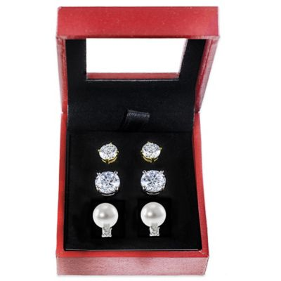 CZ by Kenneth Jay Lane Plated Cubic Zirconia and Freshwater Cultured Pearl 3-Piece Earring Box Set