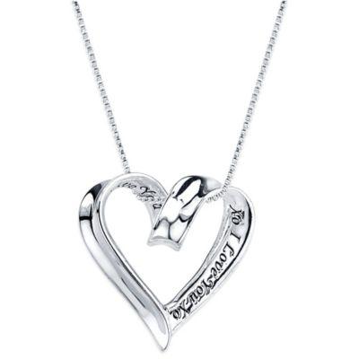 "Shine Sterling Silver ""XO I Love You XO"" Pendant Necklace"