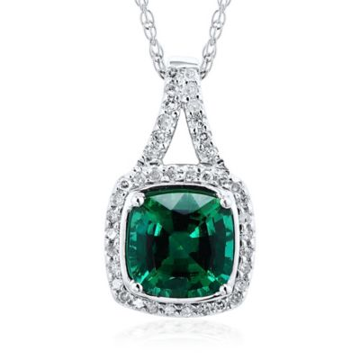 10K White Gold .16 cttw Diamond and Cushion Cut Lab-Created Emerald 18-Inch Chain Pendant Necklace
