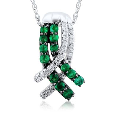 14K White Gold .10 cttw Diamond and Emerald 18-Inch Chain Entwined Pendant Necklace